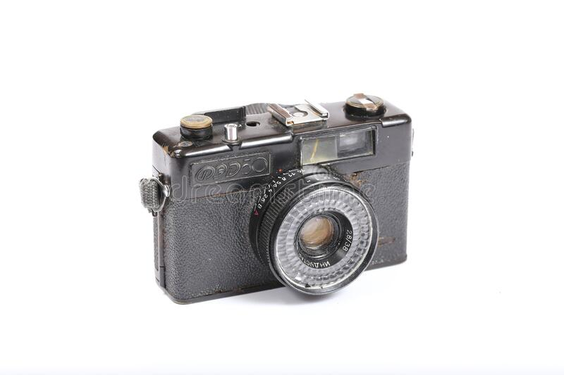 Old Soviet camera FED-50. Moscow, Russia - September 20, 2017: Old Soviet camera FED-50 royalty free stock photos