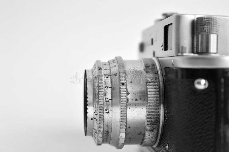 Old soviet camera. Old soviet film camera Side view royalty free stock photography