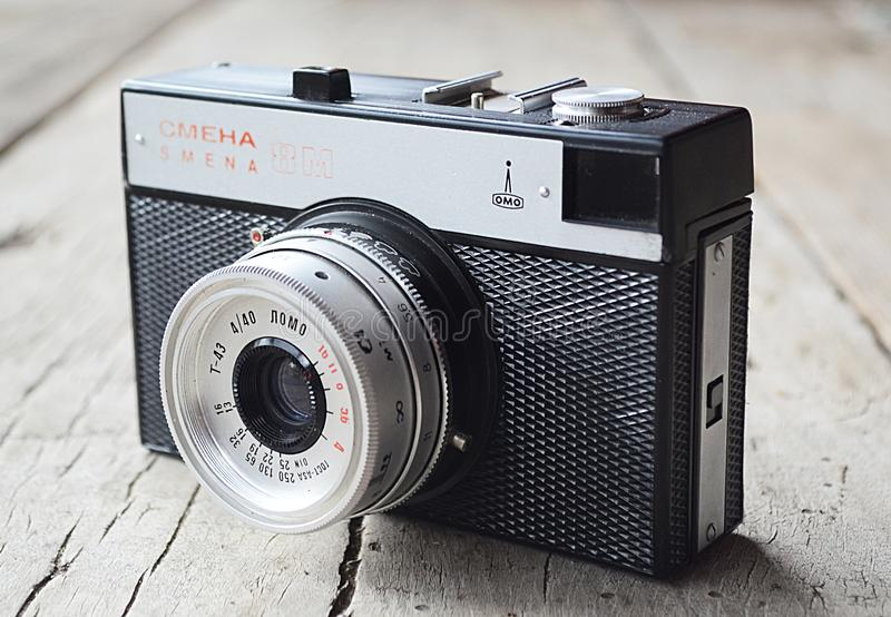 Old Soviet camera Smena. Pearl in photography! stock image
