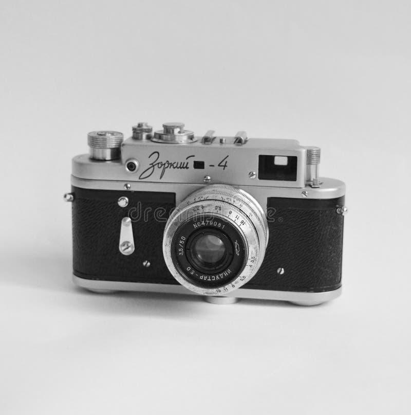 Old soviet camera. Zorkii-4 on isolated background royalty free stock photo