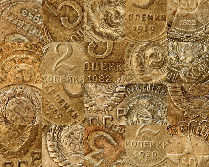 Old Soviet Coins Collage Royalty Free Stock Image