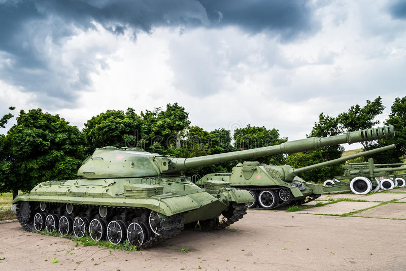 Old Soviet military equipment. In an open-air museum royalty free stock images