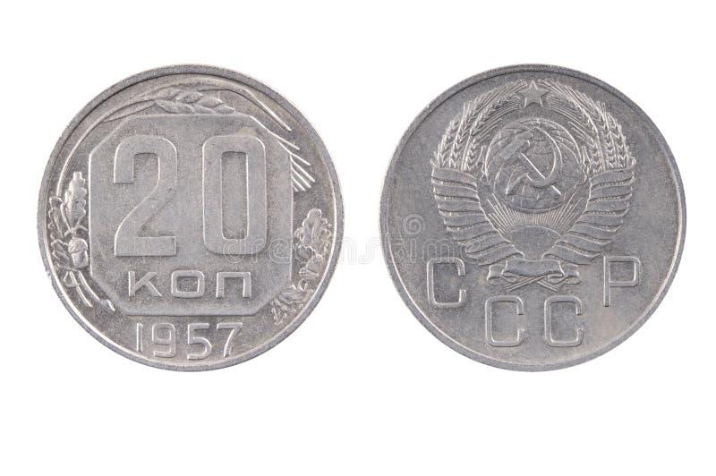 Old Soviet money . 20 Kopeks coin 1957. On white backgroundon royalty free stock image