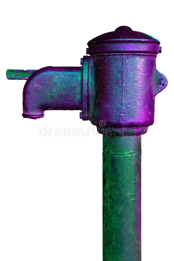 Old soviet public iron pump isolated on white background in wicked acid colors royalty free stock image