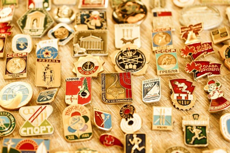 Old Soviet rare iron badges stock image