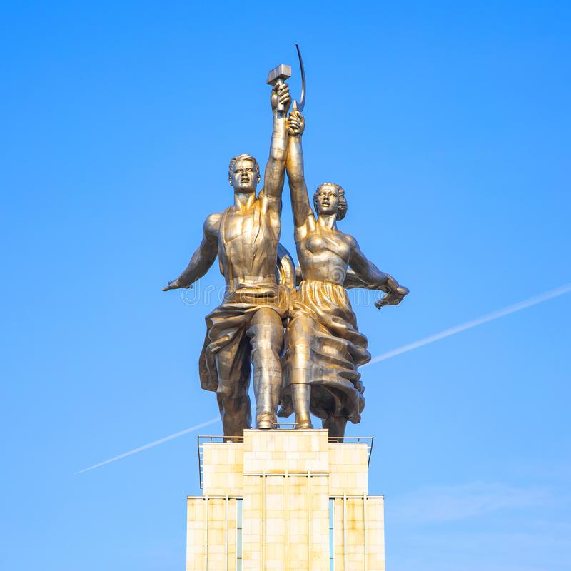 Old soviet sculpture Worker and Kolkhoz Woman royalty free stock photos