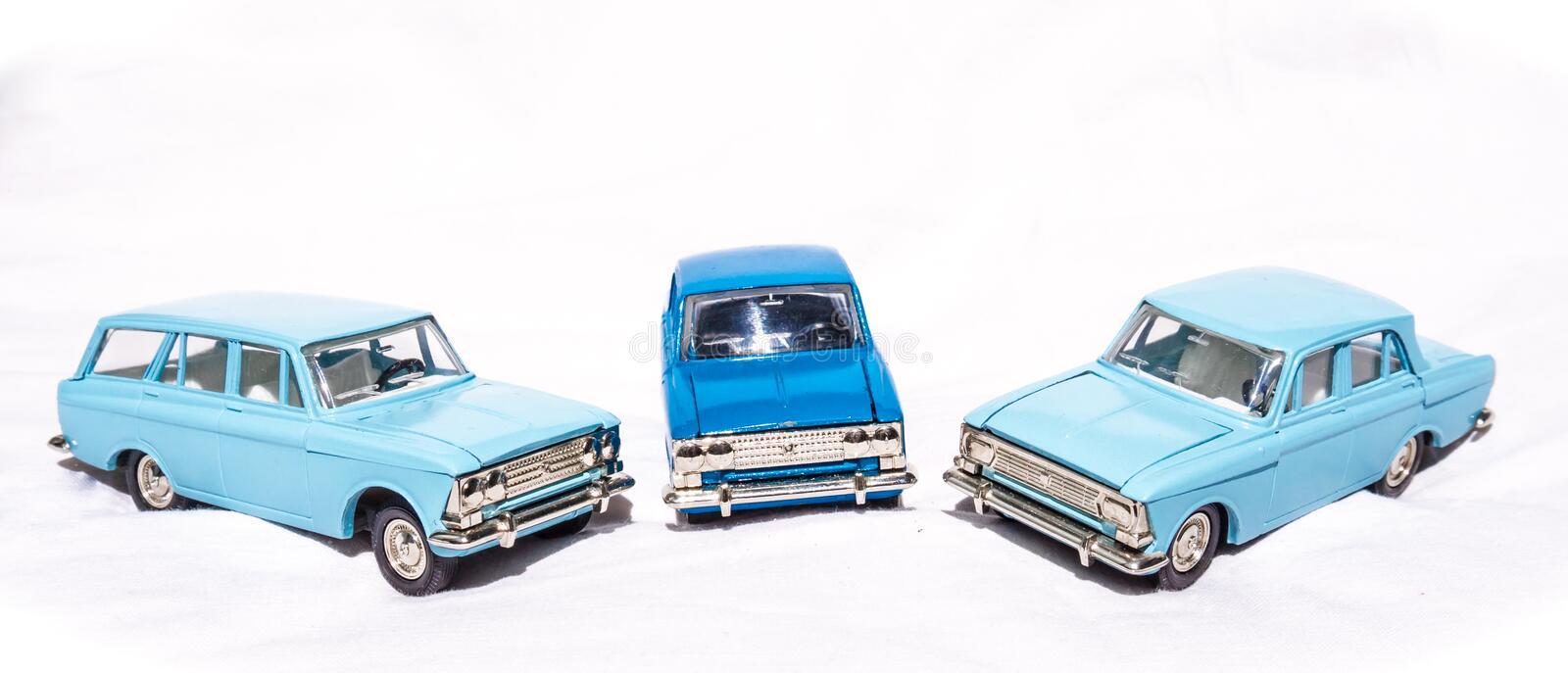The old Soviet toys - metal models of cars. Model car Moskvich royalty free stock image