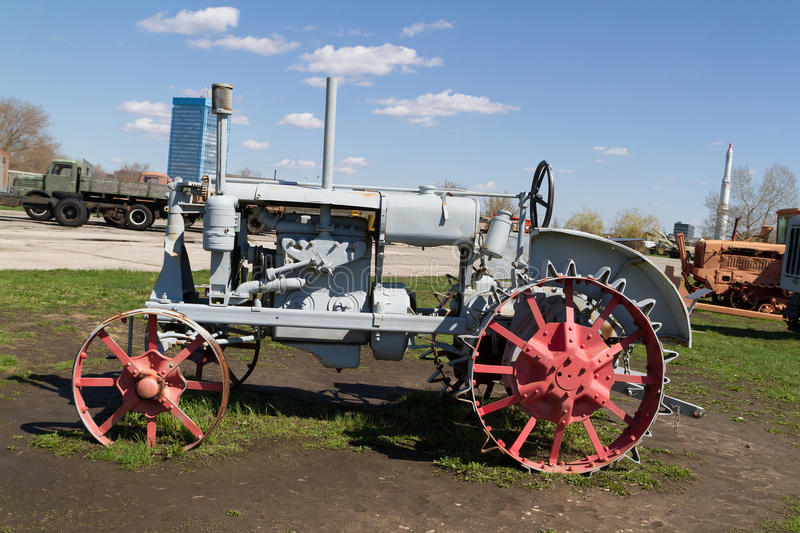 Old Metal Wheels With Tractor : Old soviet tractor with metal wheels stock photo image