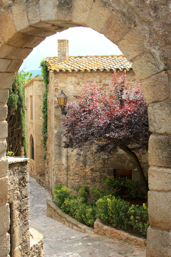 Old spanish medieval village, named Pals royalty free stock photos