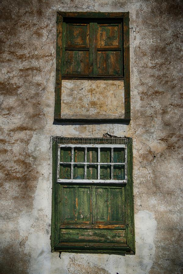 Old Spanish weathered windows stock photos