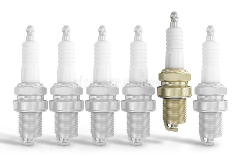 Old spark plug isolated on white royalty free stock photo