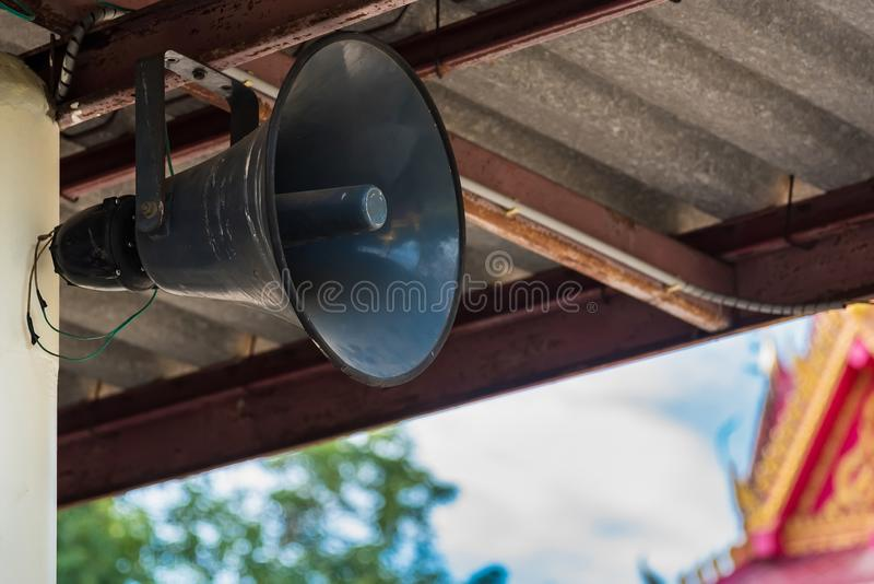 The old speaker amplifier hang at the temple in thailand royalty free stock image