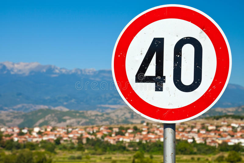 Old Speed Limit Sign royalty free stock photo