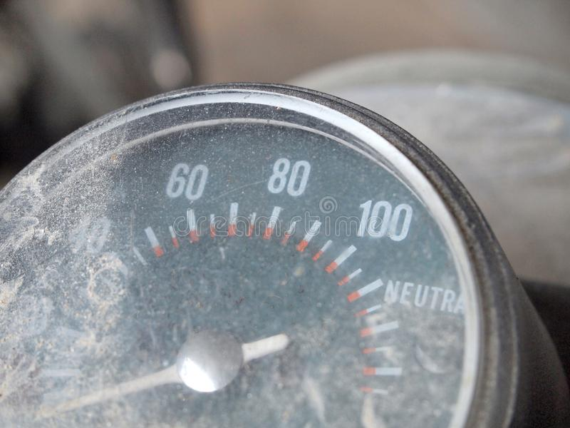 Old speed odometer. Close up stock photos