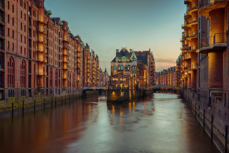 Old Speicherstadt in Hamburg. At night stock photos