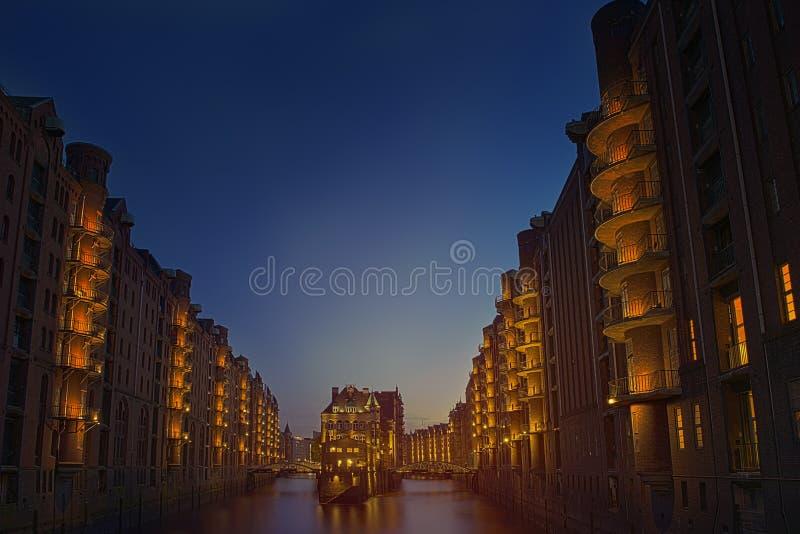 Old Speicherstadt in Hamburg. At night stock image