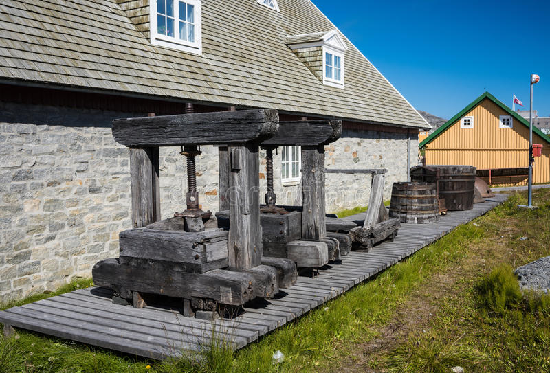 Old sperm whale oil presses, Nuuk, Greenland. Old sperm whale oil presses still standing in Nuuk, Greenland stock image