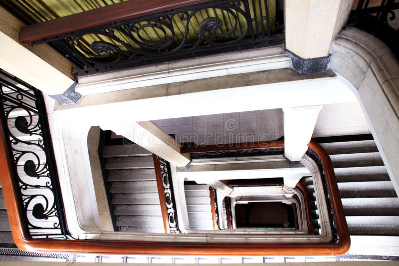 Old spiral stairs. Old spiral winding stairs in the shanghai museum stock photo