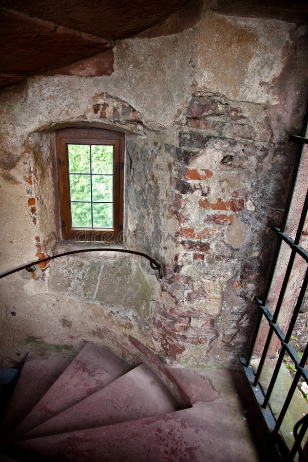 Old Spiral Stairways In Castle Royalty Free Stock Images