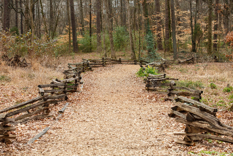 Split Rail Fence Around Wood Chip Trail Stock Image