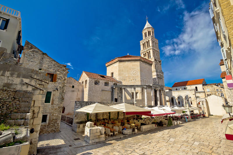 Old Split roman ruins and cathedral. View, Dalmatia, Croatia stock photography