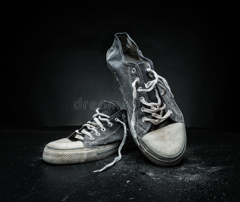 Old sport trainers royalty free stock photo