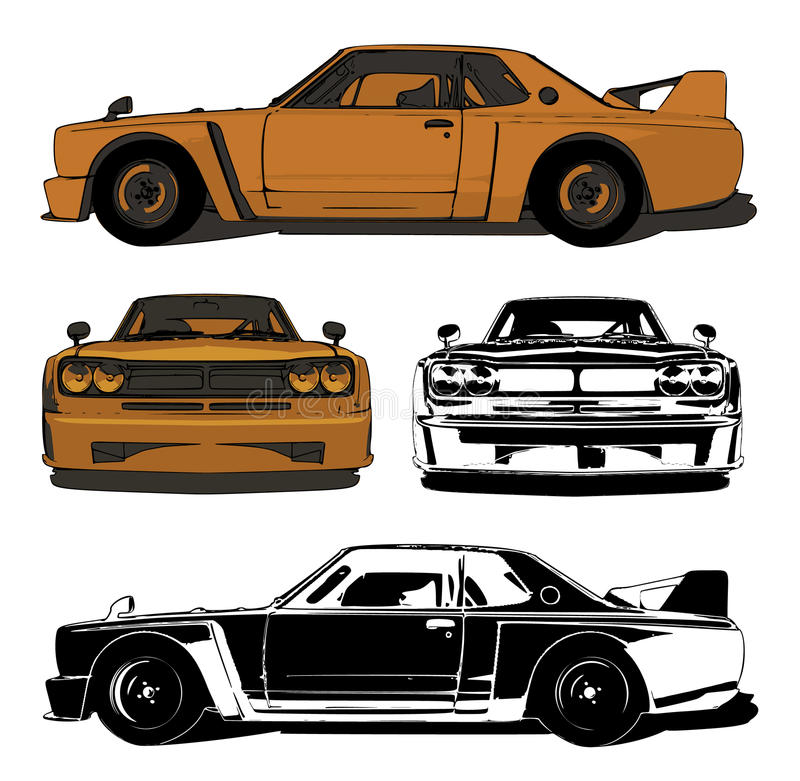 Old sports car set royalty free illustration
