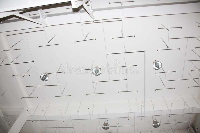Old sprinkler system on the ceiling of the production room. Fire alarm system, old sprinkler system in the ceiling of the production room stock photo