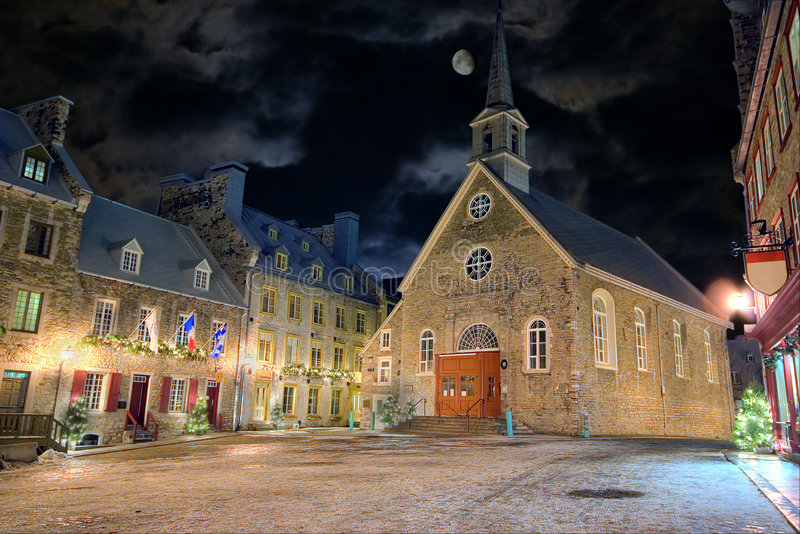 Old square. Christmas night at one of the squares of the old town in Quebec, Canada