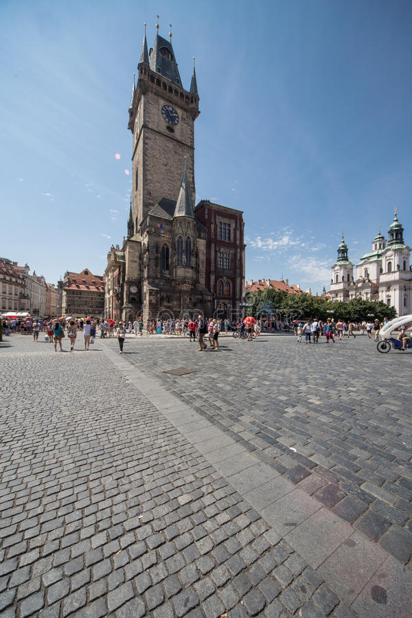 Old Square and Clock Tower in Prague royalty free stock photo