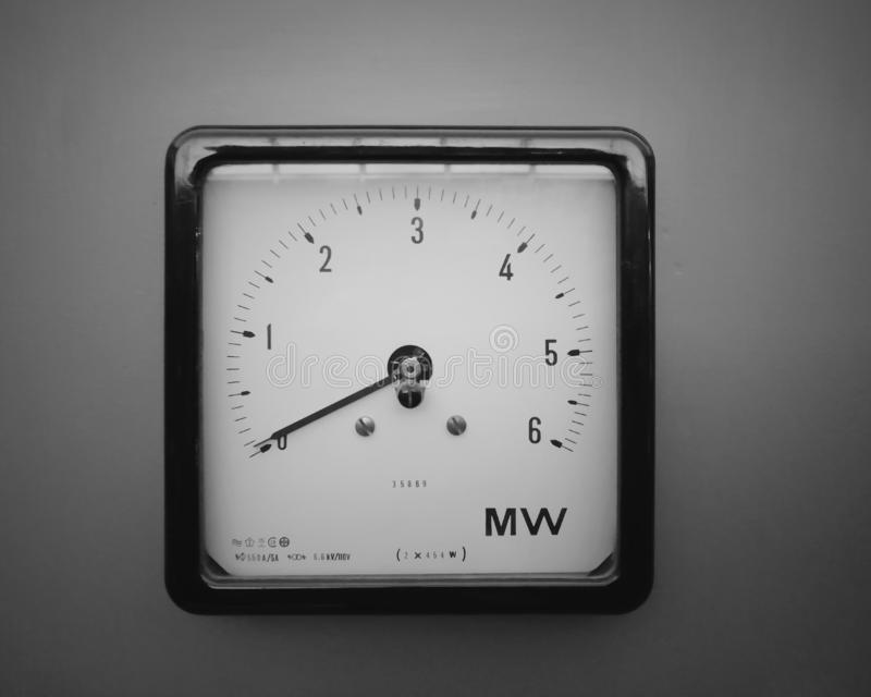 Square industrial wattmeter with the scale measured in milliwatts with an analogue dial and scale on a grey background. An old square industrial wattmeter with royalty free stock photo