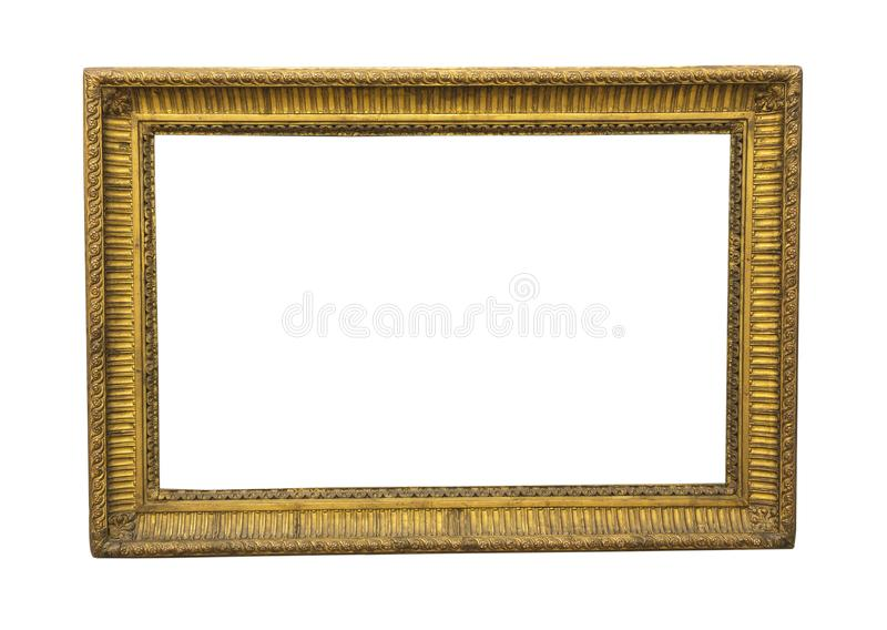 Old square wooden picture frame in gold colour stock photo
