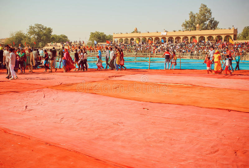 Old stadium full of people waiting for the presentation and show on the Desert Festival stock photos