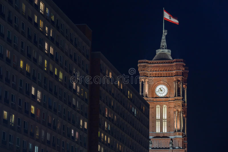 Old stadthaus building in berlin germany at night royalty free stock photos