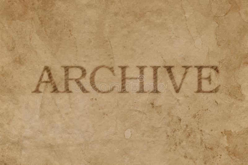 Old stained brown paper with ARCHIVE stamp imprint royalty free stock images