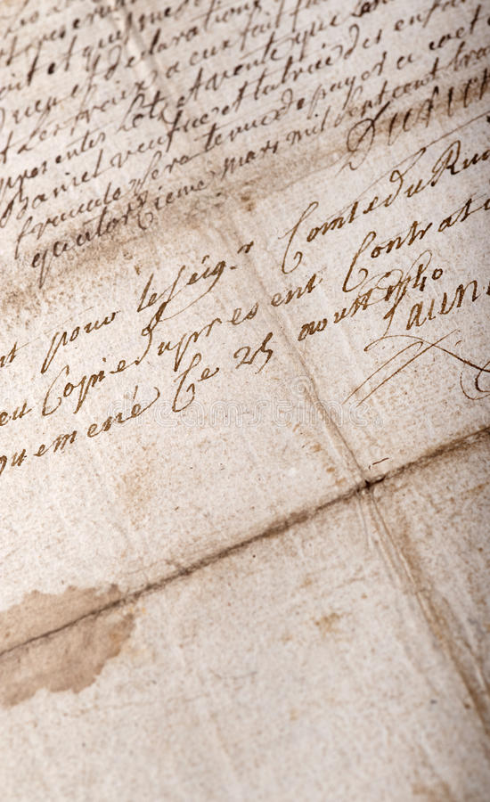 Download Old stained manuscript stock photo. Image of vintage - 19153064