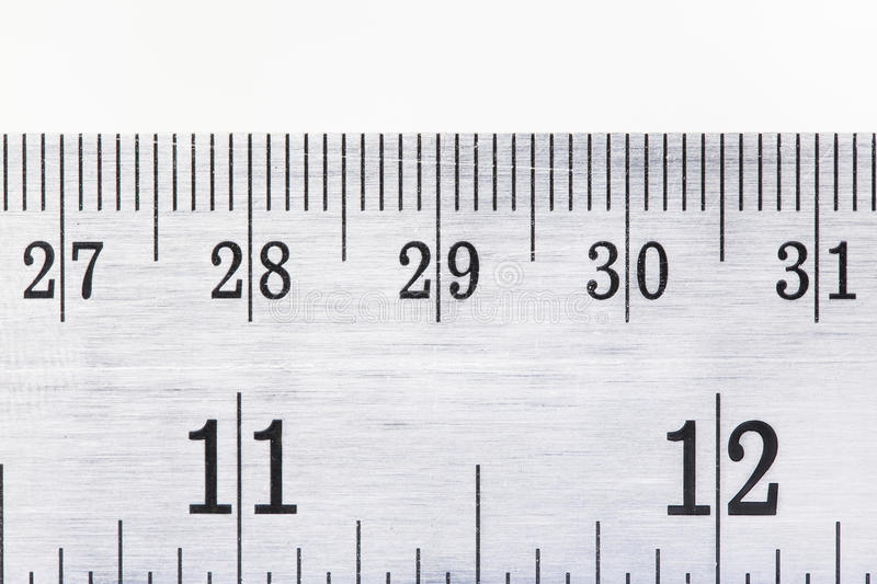 Old stainless steel ruler with clippingpath on white ba. Ckground royalty free stock image