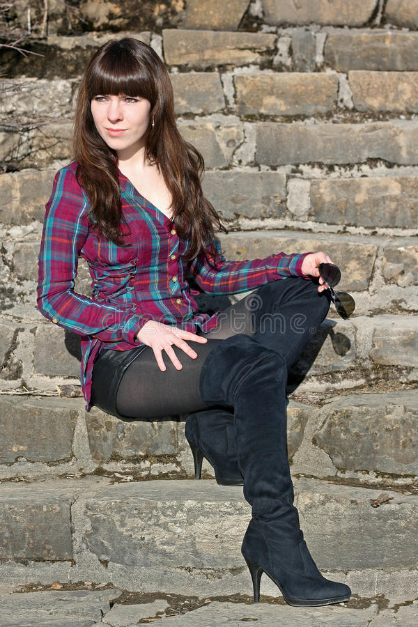 Download On the old stair stock photo. Image of overknees, outdoors - 25227916