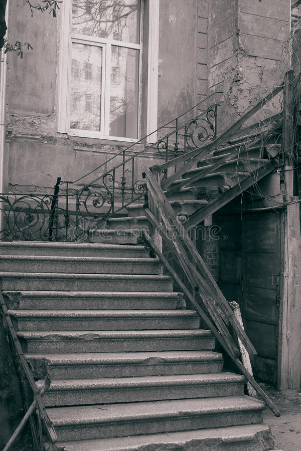 Old staircase. (B&W, retro style stock images