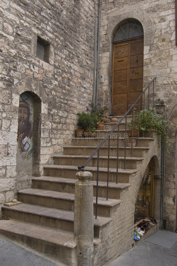 Old stairs. Entrance of an old building in Erice, Sicily royalty free stock image