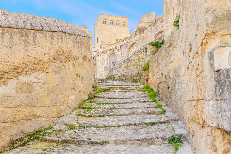 Old stairs of stones, the historic building near Matera in Italy UNESCO European Capital of Culture 2019. Details of old stairs stock photo