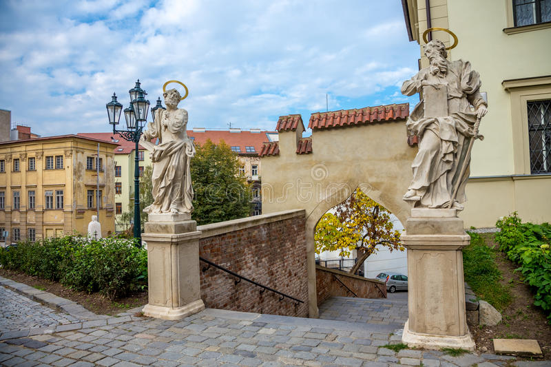 Old stairs to Petrov cathedral in Brno. Photography of old stairs to Petrov cathedral in Brno royalty free stock images