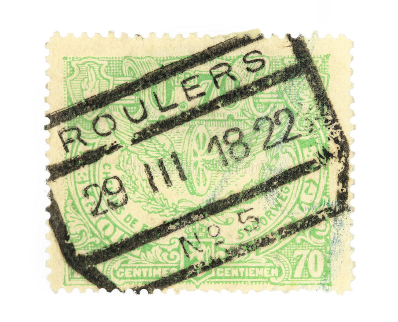 Old stamp from Belgium. Cancelled in Roeselare (Roulers). Railway or postage stamp royalty free stock image