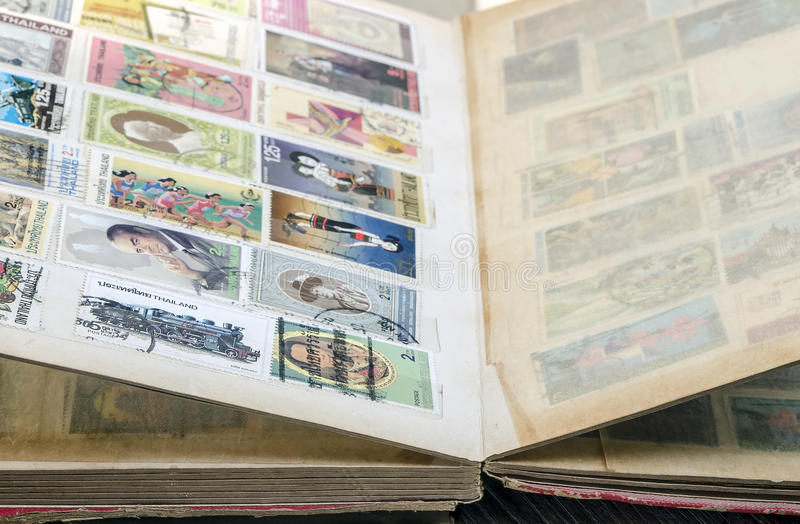 The old stamp book. In close up view,soft focus stock photography