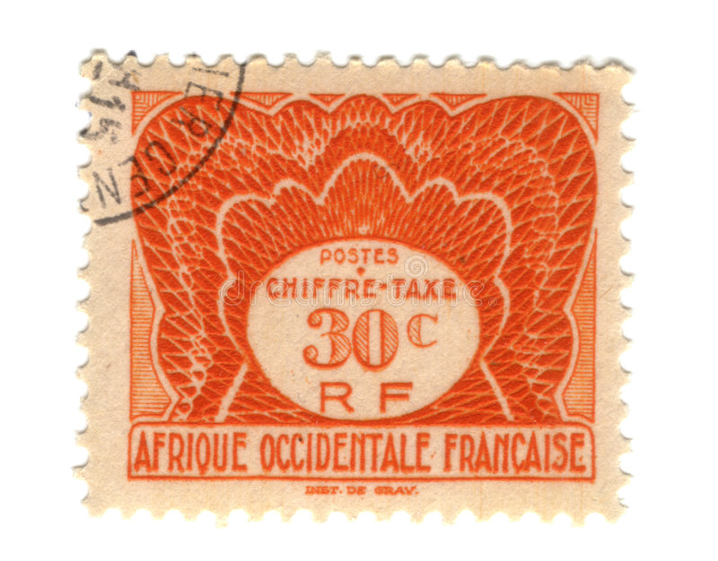 Old stamp from French West Africa. 30c royalty free stock images