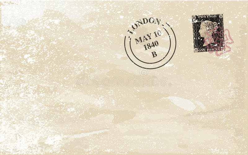 Old Stamped Envelope. A typical victorian penny black british stamp on a used envelope stock illustration
