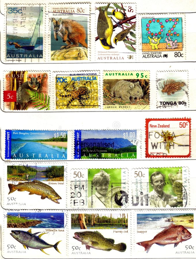 Old stamps from oceania. (background stock photography