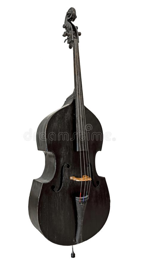Old standing black double bass isolated on white. Very Old standing black double bass isolated on white royalty free stock photography