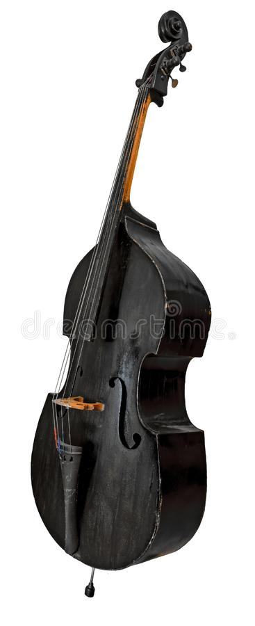 Old standing black double bass. Isolated on white royalty free stock photo