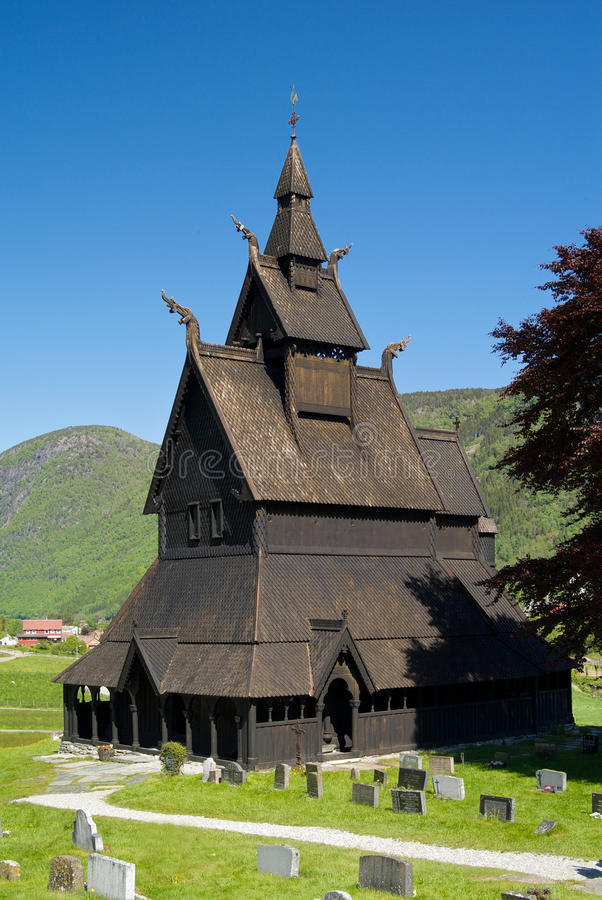 Old Stave church. Hopperstad old stave church about 1130 stock photo